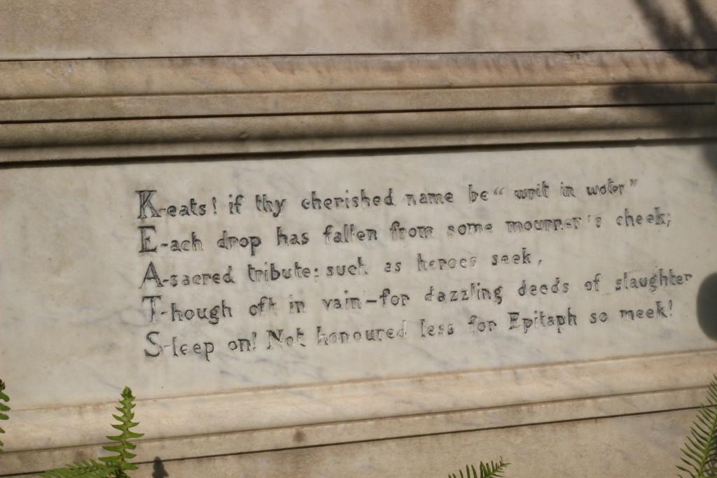 Epitaffio Jhon Keats, il cimitero acattolico