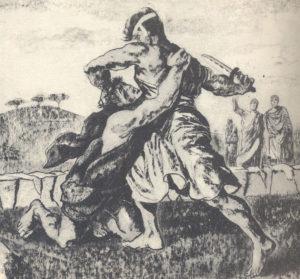 Il leggendario scontro tra Romolo e Remo, quest'ultimo reo di aver superato il solco tracciato a dividere i due fratelli.