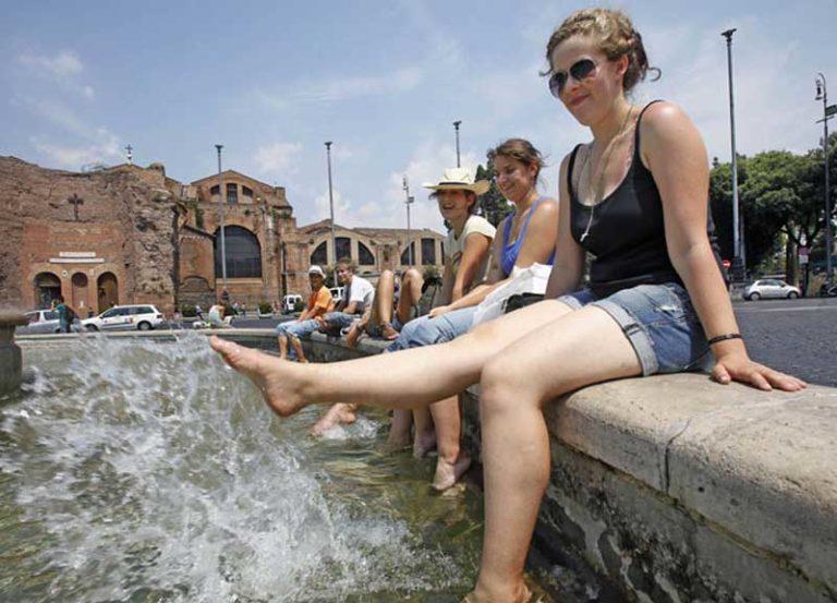 Tourists in Rome, near Termini Station