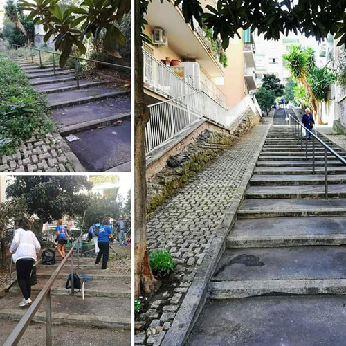 Retake Roma ripulisce la scalinata di Balduina